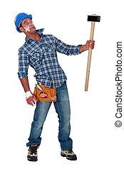 marteau forgeron, bandé, ouvrier construction, prudent