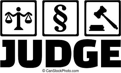 marteau, juge, échelle, paragraphe, icônes