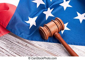 marteau, juge, drapeau américain, wood.