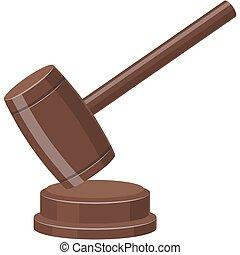 marteau, juge, marteau, droit & loi, illustration, icône, vecteur