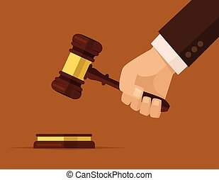 marteau, juges, tenant main