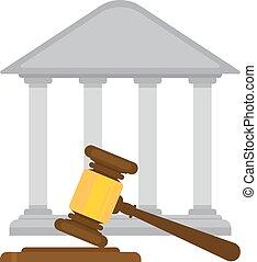 marteau, juges, tribunal, tenue