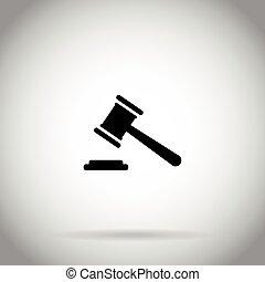 marteau, marteau, icône, juge, enchère, symbole