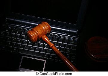 marteau, ordinateur portatif, tribunal, légal