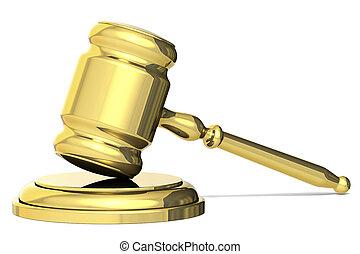 marteau, symbole, doré, concept, justice, isolated., juge