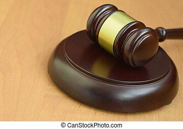 marteau, trial., bureau, juge, vide, text., bois, judiciaire, salle audience, maillet, droit & loi, espace, pendant, concept, justice