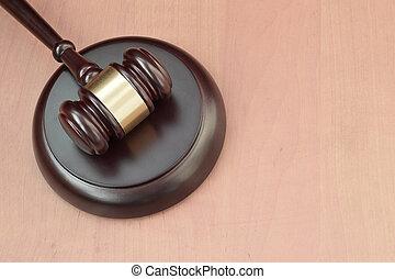 marteau, trial., judiciaire, text., pendant, salle audience, espace, vide, droit & loi, bureau, maillet, justice, bois, juge, concept