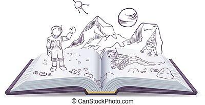 martian., livre, science-fiction, ouvert