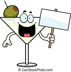 martini, dessin animé, signe