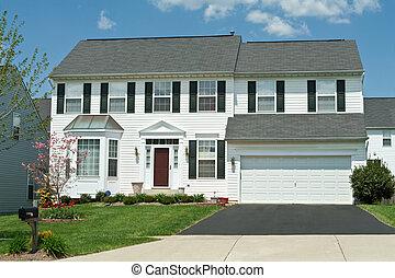 maryl, famille, maison, suburbain, prendre parti, unique, vinyle, devant, maison, vue