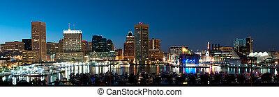 maryland, horizon, baltimore, nuit