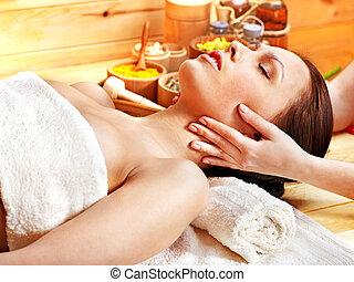 masage, facial, femme, obtenir