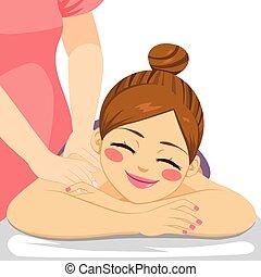 masage, femme, spa