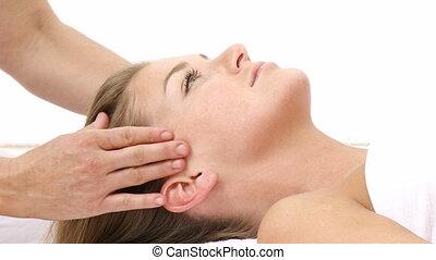 masage, femme, tête, réception