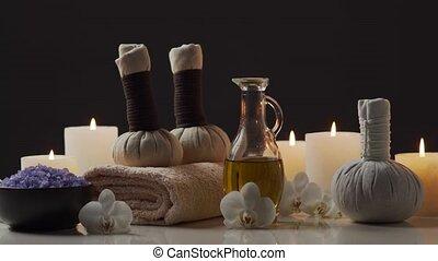 masage, herbier, balls., fleurs, aromathérapie, treatment., pierres, composition, oriental, bougies, serviettes, spa, relaxation