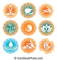 masage, spa, symboles, arrière-plans