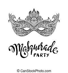 mascarade, noir, carnaval, beau, mask., dentelle