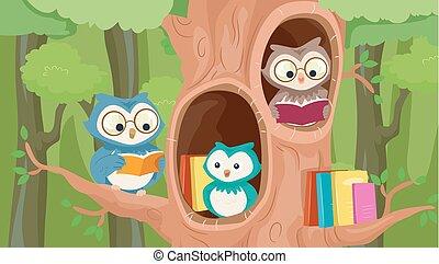 mascotte, arbre, bibliothèque, hiboux