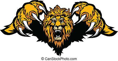 mascotte, graphique, vecteur, lion, bondir
