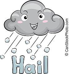 mascotte, illustration, nuage, orage, grêle