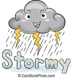 mascotte, illustration, nuage, temps orageux
