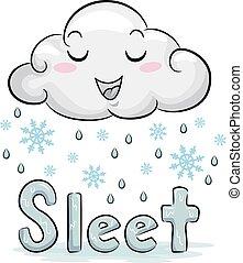 mascotte, neige fondue, illustration, nuage, temps