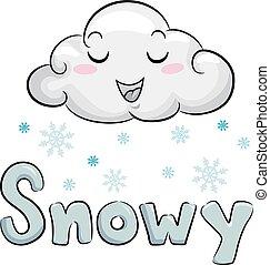 mascotte, nuage, illustration, neigeux
