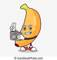 mascotte, photographe, action, fruit, banane, appareil photo, caractère, dessin animé