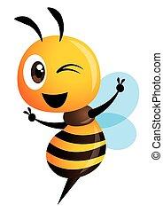 mascotte, projection, signe, mignon, main, abeille, vecteur, caractère, victoire, dessin animé, -