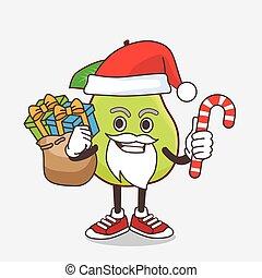 mascotte, santa, dessin animé, déguisement, caractère, fruit, bonbon, goyave