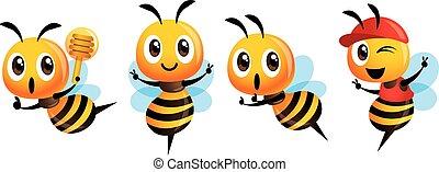 mascotte, set., signe, projection, louche, casquette, mignon, porter, abeille, miel, vecteur, caractère, victoire, tenue, dessin animé, -
