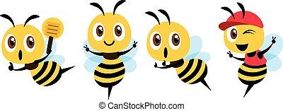 mascotte, signe, cap., design., illustration, louche, vecteur, mignon, plat, porter, abeille, miel, ensemble, projection, dessin animé, victoire, isolé, tenue