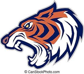 mascotte, tête tigre