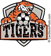 mascotte, tigres, football, bouclier