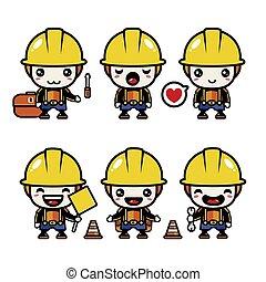 mascotte, vecteur, mettez stylique, prime, construction, mignon