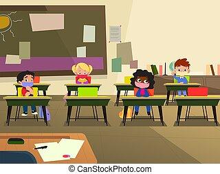 masque, école, illustration, classe, porter, enfants