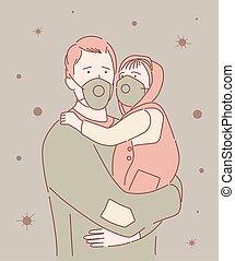 masque, bébé, pandémie, covid-19, porter, protecteur, enduisage, ville, figure, coronavirus, homme, maladie, rue