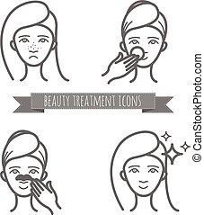masque beauté, acné, icônes, traitement, figure, nettoyage