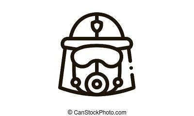 masque, casque, icône, pompier, animation