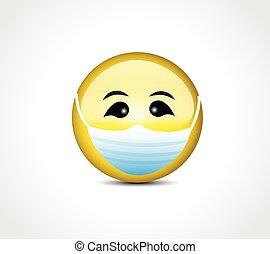 masque, covid, figure, protection, 19, emoticon