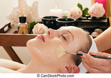 masque, -, demande, produits de beauté, facial