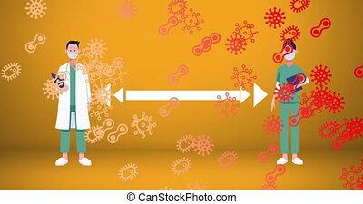 masque, femme, cellule, covid-19, contre, docteur, porter, maintenir, social, icônes, figure, mâle, distancing