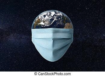 masque, planète, chirurgical, univers