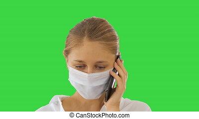 masque portant, figure, marche femme, key., protecteur, confection, chroma, appeler, écran, vert, jeune