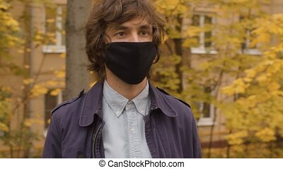 masque, protecteur, homme, noir