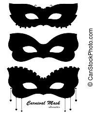 masque, silhouettes, noir, carnaval