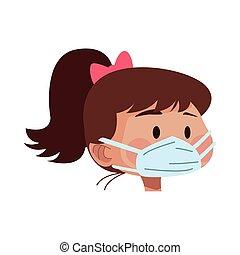 masque, utilisation, monde médical, femme, tête, jeune