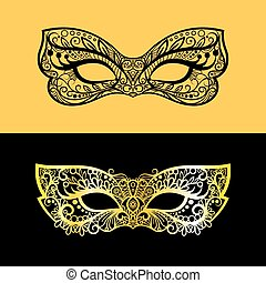masque vénitien, dentelle, or