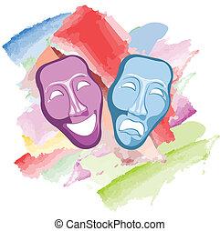 masques, comédie, tragédie, théâtre
