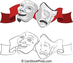 masques, théâtre, tragédie, comédie